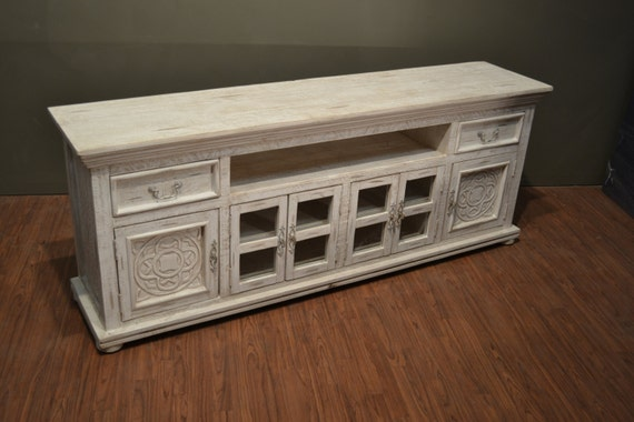 rustic solid wood carved 82 inch white tv stand media. Black Bedroom Furniture Sets. Home Design Ideas