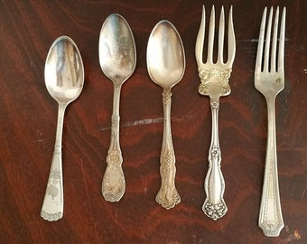 Vintage Silverplated Forks and Spoons - Pretty mixed lot of 5 pieces - Jewelry Craft Supply