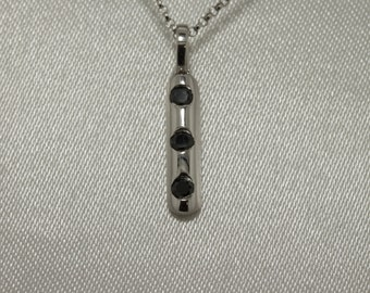 black diamond 3 stone ladies 9 ct white gold pendant 17 points