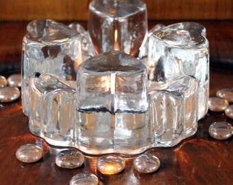 Vintage Crystal Tea Light Candle Holder, Votive Candle Plate Warmer, Pressed Glass Hearts Crystal Hearts Plate Rests, German Crystal Hearts