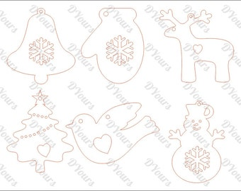 Christmas Ornaments - 6 Cut Models in 1 Vector File for CNC Cutting - svg cdr ai pdf dxf Files for Laser Cutting Engraving Printing