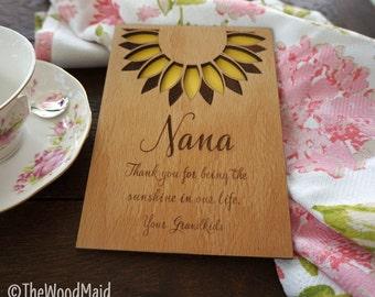 Nana Mother's Day Card Grandmother's Birthday Day Card Sunflower greeting card Grandma Thank you Card Wedding present Bridal Hostess Gift