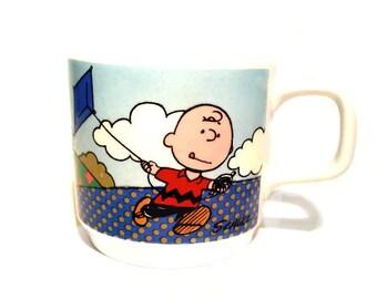 Peanuts Charlie Brown Snoopy Lucy van Pelt Small Ceramic Mug Johnson Bros Made in England 1965