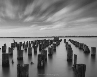Pilings in the Water, fine art print, nyc, long exposure, New York, Far Rockaway, wall art, abstract art, black and white photo