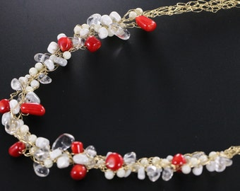 Red and White Coral, Rock Quartz, and White Turquoise Gold Filled Wire Crochet Necklace