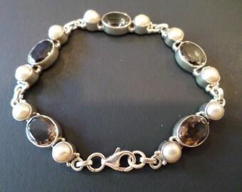 Sterling Silver 925 Stamped, Cultured Pearls and Gemstones Vintage Bracelet.