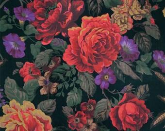 DESIGNER MIDNIGHT Floral BOUQUETS Linen Chintz Fabric 5 Yards Black Multi