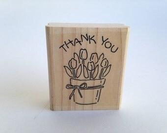 Thank You - Tulips in Vase - Spring Vintage Rubber Stamp - Card Making - Crafts ~ Sir Stampington ~ 161223