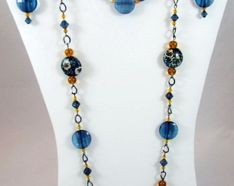 Beaded Jewelry Set, Blue Lampwork Necklace, Swarvoski Crystals, Long Necklace on Chain