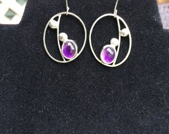 Amethyst and Sterling Silver Wire Drop Earrings