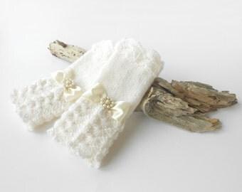 MANY COLORS Wedding Fingerless gloves Bridal Arm Warmers Hand Warmers Wedding gloves Bridal Gloves For Winter Wedding White Ivory