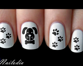 Dog Paw Bone Nail Art Sticker Water Transfer Decal #033