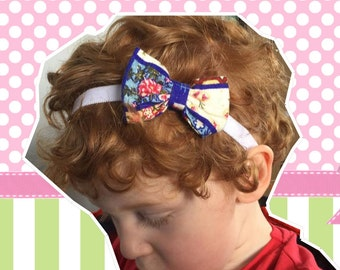 Cute pretty, girl's shabby chic bow, head band, stretchy, elasticated.