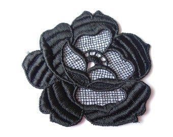 Pack of 6 black lace flower motifs, 81mm wide