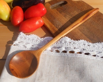 Round cooking wooden spoon from cherry,wooden spoon,serving spoon,carved spoon,wooden kitchen utensils,stirring spoon,kitchen wooden spoons