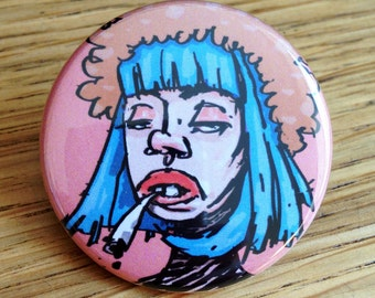 Smoking Girl Pinback Button Badge / Brooch 1.5 Inch (38mm)
