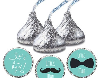Little Man Baby Shower Hershey Kiss Stickers, Instant Download Printable Baby Shower Decorations It's A Boy
