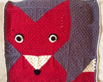 "SALE Crochet Fox Blanket - ""Superwash"" Merino Wool"