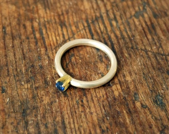 sapphire 14ct gold and silver ring
