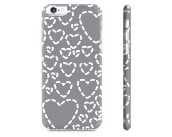 Hearts iPhone Case - Gray and White Hearts Phone Case - Heart iPhone 6 Case - Heart iPhone Case - The Mad Case
