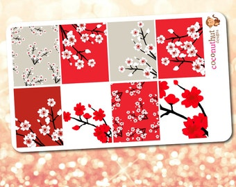 Cherry Blossom / Red & White Flower Theme Full Box Planner Stickers