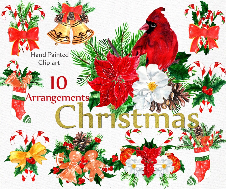 Christmas watercolor clip art clipart