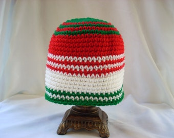 Child Christmas, Holiday Hat / Child Crochet Winter Hat / Child Striped Hat / Striped Child Christmas Hat / Tricolor red, green and white