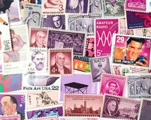50 x Purple & Pink Tones UNused Mint US Postage Stamps - 3 cents to 78 cents - for mailing, art, collage, invites, postcrossing, decoupage