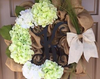 Monogram burlap wreath with hydrangeas