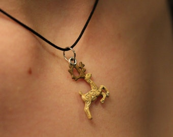 Christmas deer pendant necklace