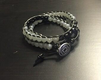 3 wrap grey and black bracelet