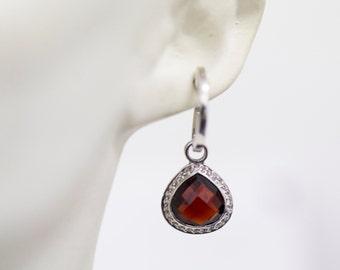 Sterling Silver Garnet & White Sapphire Drop Earrings