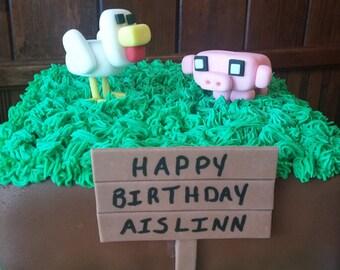 Minecraft Inspired Chicken - Minecraft Pig Topper Set - Fondant