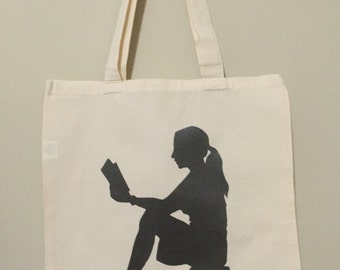 Reusable Tote, Reading Girl, Grocery and Library Bag