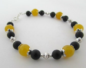 Yellow Quartzite & Black Onyx Bracelet, Mustard and Black, Yellow and Black Bracelet