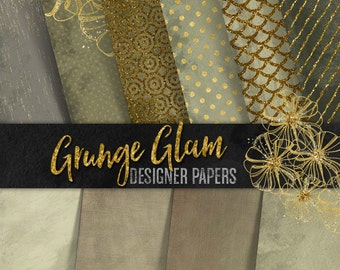 Grunge Digital Paper: Gray Brown Gold Glitter-Floral,Scales,Stripes,Polka Dots Patterns & Plains-Scrapbook,Invitations,Sticker,Backgrounds
