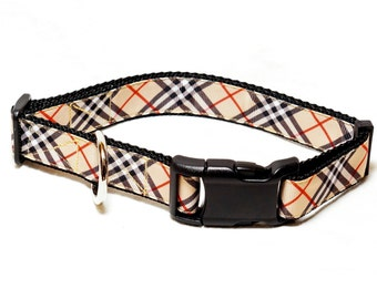 "Tan Plaid Dog Collar (3/4"" and 1"" widths) - Leash - Martingale - Small - Medium - Large - Extra Large"