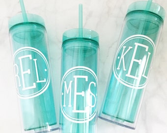 Personalized, Monogram, Skinny Tumbler, 16 oz. Acrylic, BPA Free, Personalized Cup