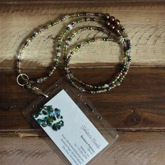 Id Card Beads: Long Beaded Necklace Beaded Lanyard Id Card By SchatzisBeads