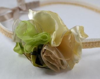 Light green fabric flower headband - Vanamehi Bloom Headband