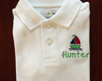 Sailboat polo shirt, boy polo shirt, boat shirt, sailboat shirt, SSD-50