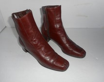 Vintage Selby Burgundy/Leather Women's Ankle Boots Size 8 Nice