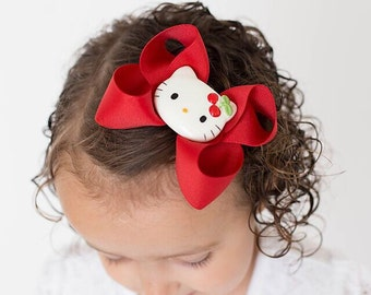 Red Hello Kitty Hair Bows , Baby Girls Hair Bow , Boutique Hair Bow , Girls Hair Bows, Boutique Bows , Hello Kitty Boutique Bow