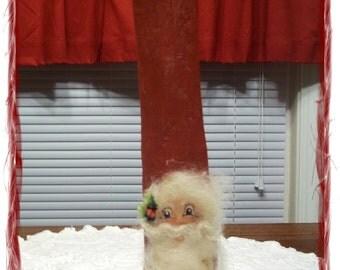 Vintage Handpainted Driftwood Santa - Bright Eyes
