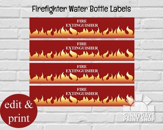 fireman water bottle labelsfiremen birthday water bottle