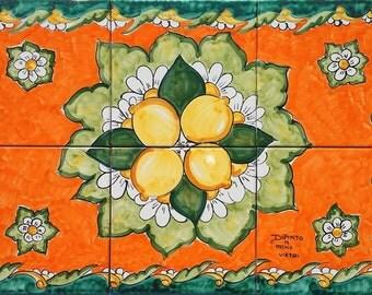 Decorative Tiles - Backsplash for Kitchen - Orange Painting - Lemon Painting - White Daisy - Kitchen Wall Decor - Green and Orange