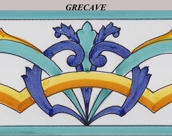 Set of 20 Hand Painted Italian Ceramic Decorative Border Tiles 10x20 cm  approx. 4x8 inches