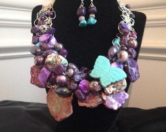 Purple Stone Chunky Necklace
