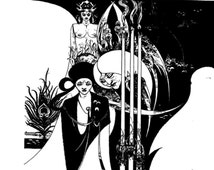 Aubrey Beardsley Art Nouveau Design  Black White Vintage Print Black Art Was Revealed Unto Him 1967 Monochrome Book Plate  1967 Wall Decor