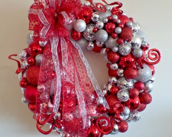 """Christmas Ball Wreath Red Silver Mirror Ball Shatter-proof Balls Door Wreath """"Red and Silver Reflections"""""""